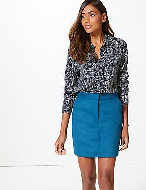 Wool Blend A-Line Mini Skirt, DARK MARINE, catlanding