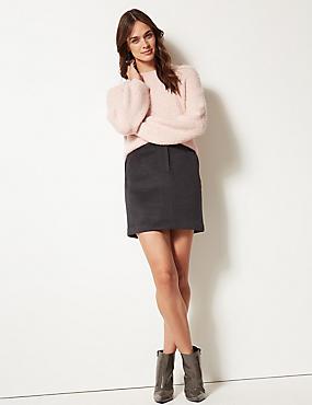 Wool Blend A-Line Mini Skirt, GREY, catlanding