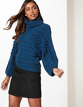 Wool Blend A-Line Mini Skirt, BLACK, catlanding