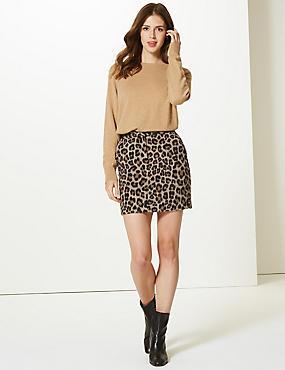 Animal Print A-Line Mini Skirt, NEUTRAL, catlanding