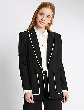 PETITE Contrast Piped Jacket