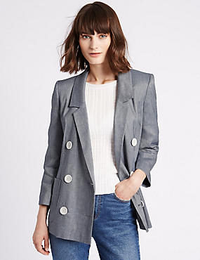 Linen Blend Double Breasted Chambray Blazer