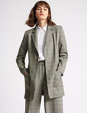 Checked Single Breasted Blazer
