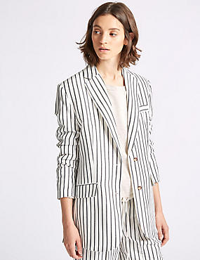 Linen Blend Striped Blazer , GREY MIX, catlanding