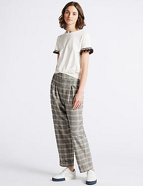 Checked Wide Leg Trousers, GREY MIX, catlanding