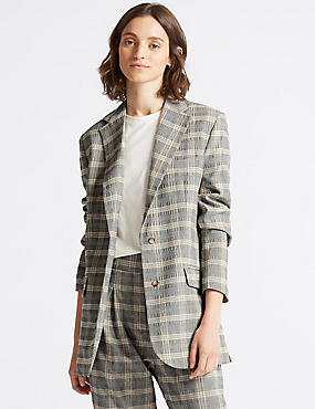 Checked Blazer, GREY MIX, catlanding