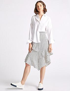 Linen Blend Striped Asymmetrical Midi Skirt, IVORY MIX, catlanding