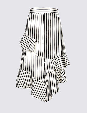 Linen Blend Striped Asymmetrical Midi Skirt