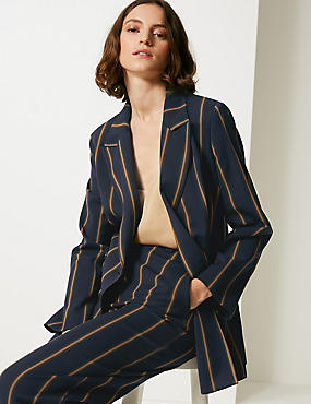 Striped Double Breasted Blazer , NAVY MIX, catlanding