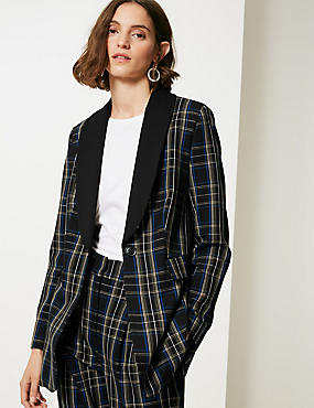 Checked Single Breasted Blazer, BLACK MIX, catlanding