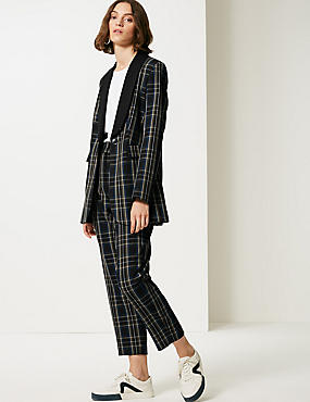 Checked Tapered Leg Trousers , BLACK MIX, catlanding