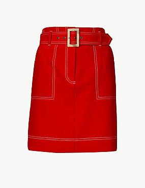 A-Line Mini Skirt, BRIGHT RED, catlanding