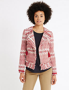 Cotton Rich Tassel Aztec Print Jacket