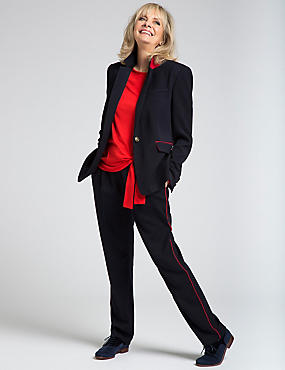 1 Button Contrast Piped Blazer