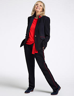 Contrast Piped Tapered Leg Trousers
