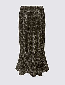 Textured Fishtail Pencil Midi Skirt