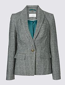Checked Grosgrain Blazer