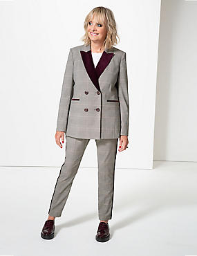 Checked Straight Leg Trousers , BROWN MIX, catlanding