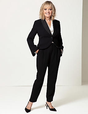 Single Breasted Bow Back Blazer , BLACK, catlanding