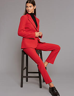 Single Breasted 2 Button Blazer, RED, catlanding