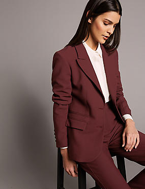 Single Breasted 2 Button Blazer, DARK BURGUNDY, catlanding