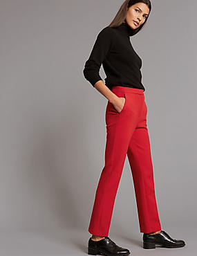 Straight Leg Trousers, RED, catlanding