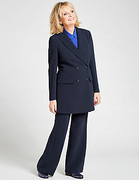 Double Breasted Longline Blazer, NAVY, catlanding