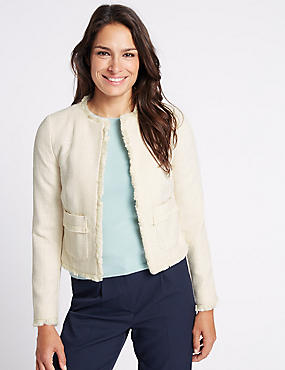 Textured Fringed Trophy Jacket