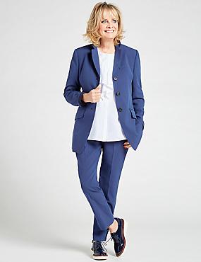 Cotton BlendStriped Straight Leg Trousers, BLUE MIX, catlanding