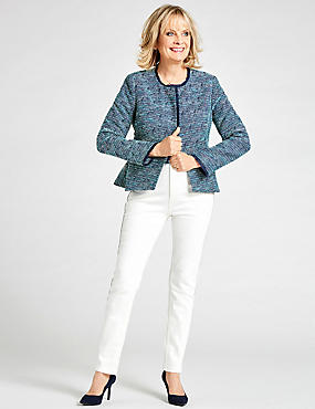 Cotton Blend Peplum DetailZip Jacket, BLUE MIX, catlanding