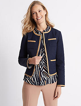 Cotton Rich Quilted Trim Blazer, NAVY, catlanding
