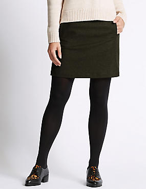 Luxury Stitch A-Line Skirt with Wool