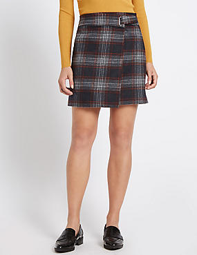 Tailored Fit Wrap Check A-Line Mini Skirt