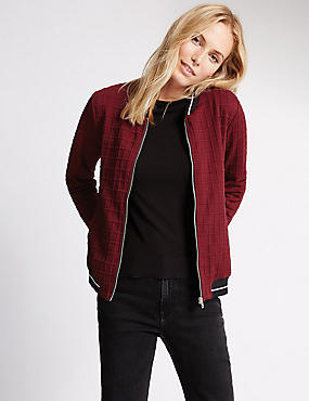 Long Sleeve Tipping Bomber Jacket