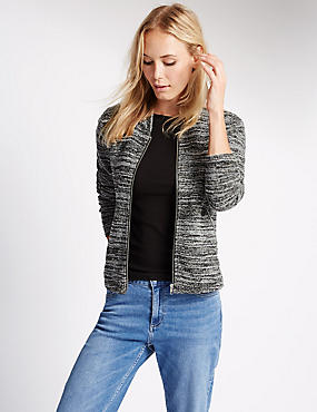 Long Sleeve Striped Bomber Jacket