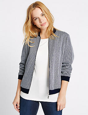 PETITE Checked Bomber Jacket