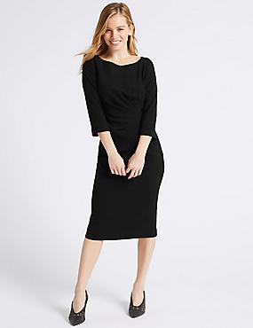 PETITE 3/4 Sleeve Shift Midi Dress , BLACK, catlanding