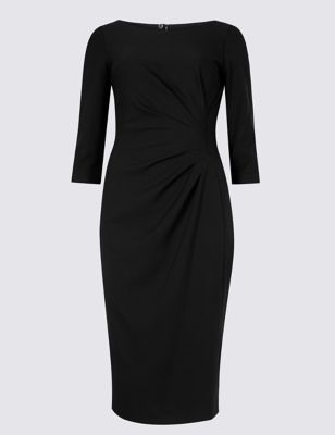 Petite 3/4 Sleeve Shift Midi Dress by M&S Collection