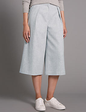 Pleated Wide Crop Trouser with Wool