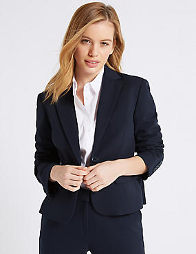 PETITE Single Breasted Blazer , NAVY, catlanding