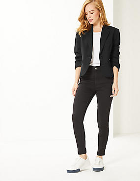 PETITE Single Breasted Blazer , BLACK, catlanding