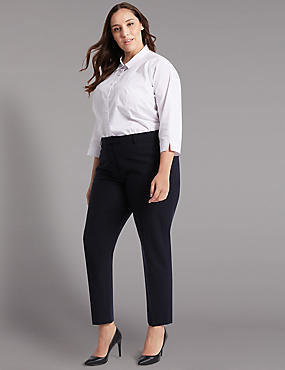 PLUS Wool Blend Tapered Leg Trousers