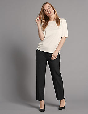PETITE Wool Blend Tapered Leg Trousers
