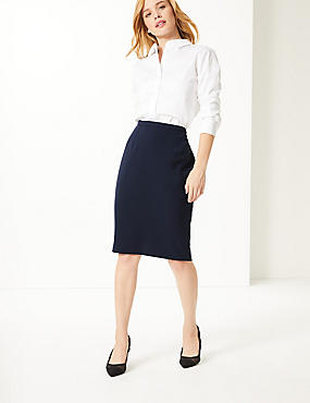 PETITE Pencil Skirt , NAVY, catlanding