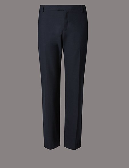 Wool Blend Tapered Leg Trousers