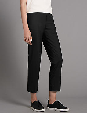 Tapered Wool and Silk Mix Trousers