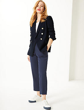 PETITE Double Breasted Blazer , NAVY, catlanding