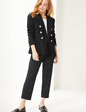 PETITE Double Breasted Blazer , BLACK, catlanding