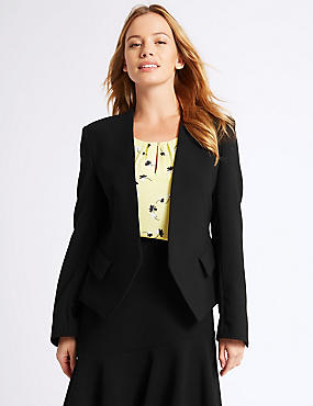 PETITE Collarless Jacket, BLACK, catlanding