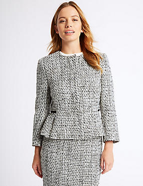 PETITE Cotton Blend Textured Blazer